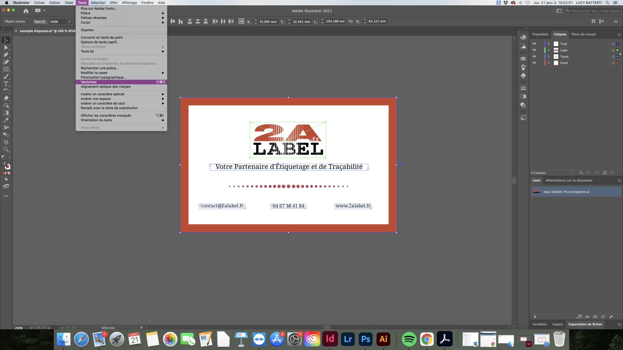 Vectoriser un fichier sous Illustrator vectoriser